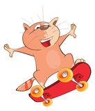 Illustration of a Cute Cat Skateboarder. Cartoon Character Royalty Free Stock Images