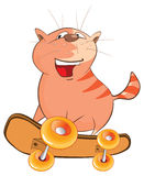 Illustration of a Cute Cat Skateboarder. Cartoon Character Royalty Free Stock Photography