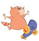 Illustration of a Cute Cat Skateboarder. Cartoon Character Stock Photo
