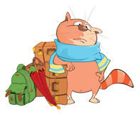 Illustration of a Cute Cat.A Traveler. Cartoon Character Royalty Free Stock Image