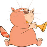 Illustration of a Cute Cat Trumpeter. Cartoon Character. Red striped cat the musician Royalty Free Stock Photography