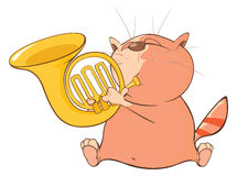 Illustration of a Cute Cat Trumpeter. Cartoon Character Stock Images