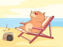 Illustration of a Cute Cat. Cat on Vacation. Cartoon Character Stock Photo