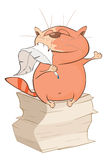 Illustration of a Cute Cat Writer. Cartoon Character Royalty Free Stock Photo