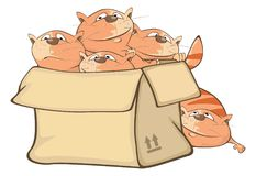 Illustration of Cute Cats and a Box. Cartoon Character stock illustration