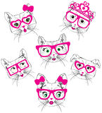 Illustration of cute cats. Fashion style new trend stock illustration