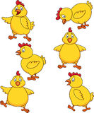 Cute chicken cartoon set Royalty Free Stock Images