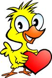 Illustration of an cute chicken holding a heart Stock Images