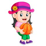Cute child holding big pumpkin royalty free illustration