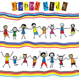 Illustration - cute children(kids)jumping & dancing together. The graphic shows smiling and happy toddlers playing and enjoying each others company vector illustration