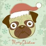 Illustration of cute Christmas pug Stock Image