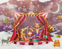 Illustration of cute circus  animals on stage in sky Royalty Free Stock Image