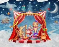 Illustration of cute circus  animals on stage in sky Stock Photography