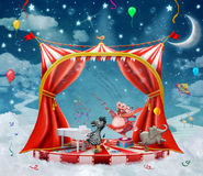 Illustration of cute circus  animals on stage in sky Stock Image