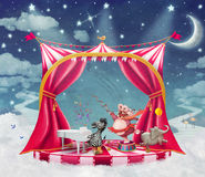 Illustration of cute circus  animals on stage in sky Stock Photo
