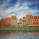 Illustration of a cute city on the river Royalty Free Stock Photos