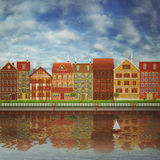 Illustration of a cute city on the river Stock Photo