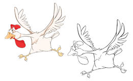 Illustration of a Cute Cockerel. Cartoon Character. Coloring Book Royalty Free Stock Photography