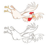 Illustration of a Cute Cockerel. Cartoon Character. Coloring Book Stock Photography