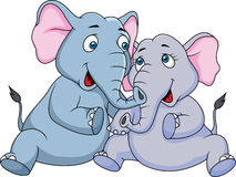 Cute couple elephant cartoon Royalty Free Stock Image