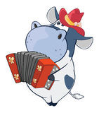Illustration of a Cute Cow  Accordion Player. Cartoon Character Royalty Free Stock Photo