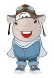 Illustration of a Cute Cow Aircraft Pilot. Cartoon Character Stock Photo