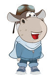 Illustration of a Cute Cow Aircraft Pilot. Cartoon Character Stock Photography
