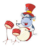 Illustration of a Cute Cow Drummer. Cartoon Character Royalty Free Stock Photos