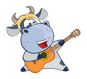 Illustration of a Cute Cow Guitarist. Cartoon Character Stock Image