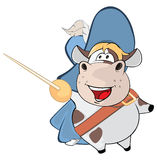 Illustration of a Cute Cow. King's Musketeer. Cartoon Character Royalty Free Stock Image