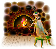 Illustration of cute cricket sitting in winter near burning fireplace. Vector cartoon image.  Scale to any size without loss of resolution Royalty Free Stock Photography
