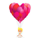 Illustration of cute cupid holding a lot of balloons in heart shape. Royalty Free Stock Photo