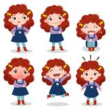 Cute curly red hair girl showing different emotions. Illustration of cute curly red hair girl showing different emotions Royalty Free Stock Image