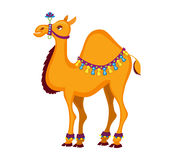 Illustration of cute decorated  camel cartoon. Stock Images