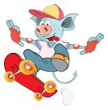 Illustration of Cute Devil Skateboarding Cartoon Royalty Free Stock Images