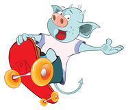 Illustration of Cute Devil Skateboarding Cartoon Stock Photos