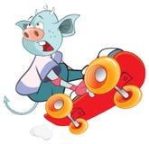 Illustration of Cute Devil Skateboarding Cartoon Stock Photo