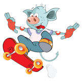 Illustration of a Cute Devil. Skateboarding. Cartoon Character Stock Image