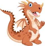 Cute dragon cartoon waving. Illustration of cute dragon cartoon isolated on white background Stock Photography
