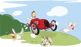 Illustration of a Cute Driven Sports car racing Stock Photography