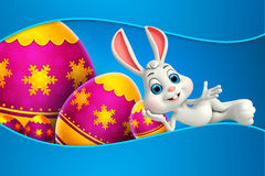 Illustration of Cute Easter Bunny with colorfull egg Stock Images