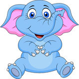 Cute elephant cartoon sitting Royalty Free Stock Image