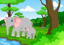 Cute elephant and her baby Stock Photos
