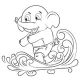 Cute elephant playing surf vector illustration