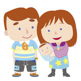 Illustration of cute family with white Royalty Free Stock Photo