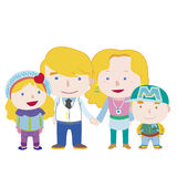 Illustration of cute family with white Royalty Free Stock Image