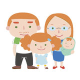 Illustration of cute family with white Stock Photography