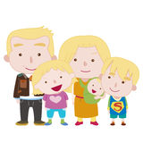 Illustration of cute family with white Royalty Free Stock Photography