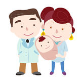 Illustration of cute family with white Stock Image