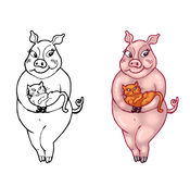 Illustration of Cute Female Pig holding a kitten Royalty Free Stock Image